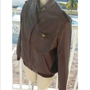 Etienne aigner oxblood leather bomber jacket sz 12